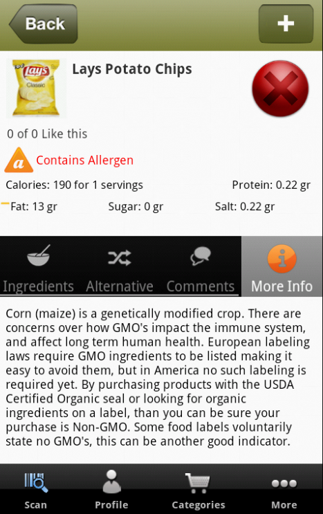 Healthy Food, Allergens, GMO- screenshot