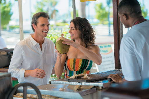 Try fresh coconut water on a Carribean cruise aboard Tere Moana.