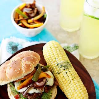Fajita Burger with Peppers and Guacamole.