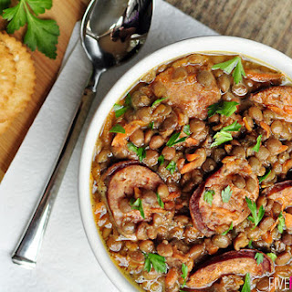 Slow Cooker German Lentils with Sausage.