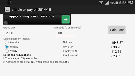 UK payroll calculator 201718 Android Apps on Google Play – Net Pay Calculator