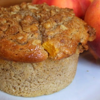 Sweet Peach Muffins w/ Brown Sugar- Walnut Streusel