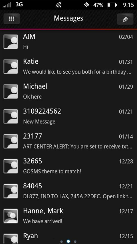 METRO Black GO SMS Theme - screenshot