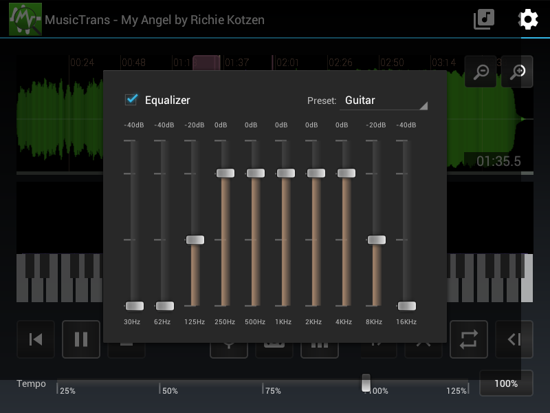 MusicTrans tool for musicians- screenshot