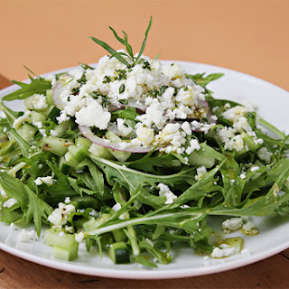 Mizuna and cucumber salad with red onions, feta, tarragon and Champagne vinaigrette