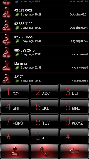 Dialer Black Red Gloss Theme