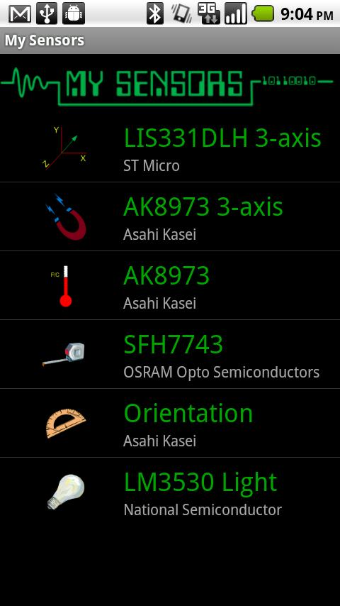 My Sensors - screenshot