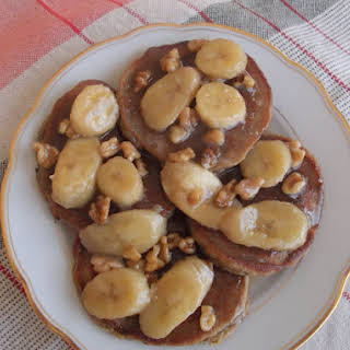 Roasted Banana and Walnuts Pancakes with Banana-Coconut Butterscotch Sauce.