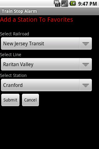 Train Stop Alarm - screenshot