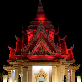 Red roof by Mark Pope - Buildings & Architecture Statues & Monuments ( red, shrine, thailand, asia, night,  )
