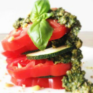 Heirloom Tomato Pesto Stack [Vegan, Raw, Gluten-Free]