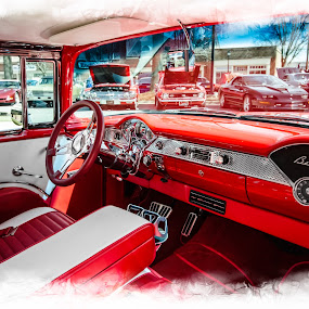 BelAir Insides by RomanDA Photography - Transportation Automobiles ( red, wheel, 2014, cars, white, steering, seats, dashboard, leather, spring, cruise-in )