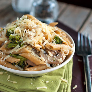 Rustic Garlic Penne with Roasted Broccoli and Sauteed Mushrooms.
