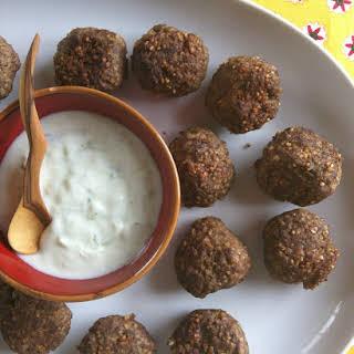 Kibbeh Meatballs with Spiced Yogurt Sauce.