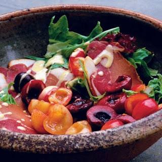 Nigel Slater'S Salad of Summer Leaves, Cured Pork, and Cherries Recipe