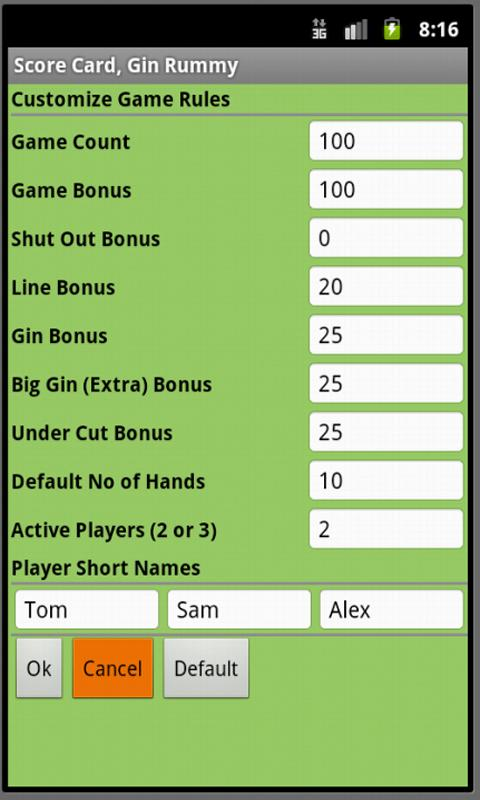 Score Card, Gin Rummy - screenshot