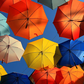 my colors day by José M G Pereira - Artistic Objects Other Objects ( orange, umbrellas, cyan, red, blue, colors, agueda, yellow, summer time,  )