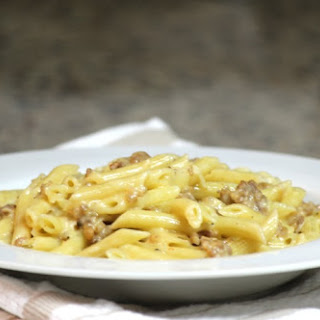 Penne with Sausage and Fennel Alfredo Sauce.