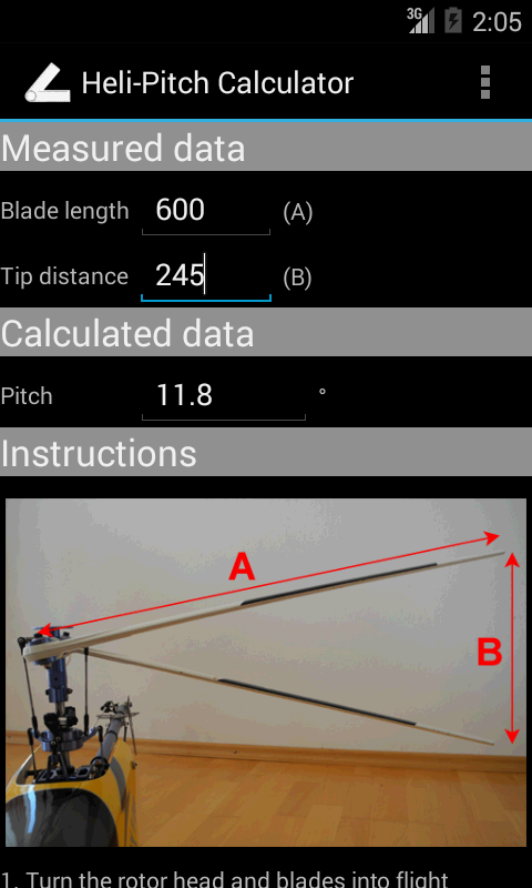 Heli-Pitch Calculator- screenshot