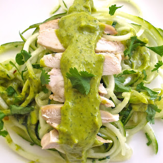 Spicy Avocado Sauce Over Chicken & Zoodles