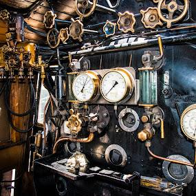by Richard Ryan - Transportation Trains ( cockpit, engine, copper, train, driver,  )