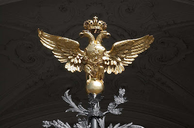 A double golden eagle at the Winter Palace in St. Petersburg.