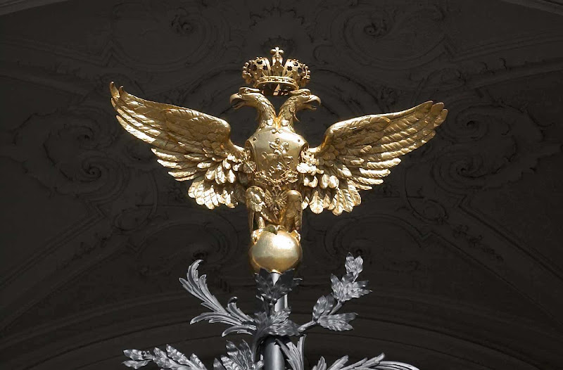 A double golden eagle at the Winter Palace in St. Petersburg, Russia