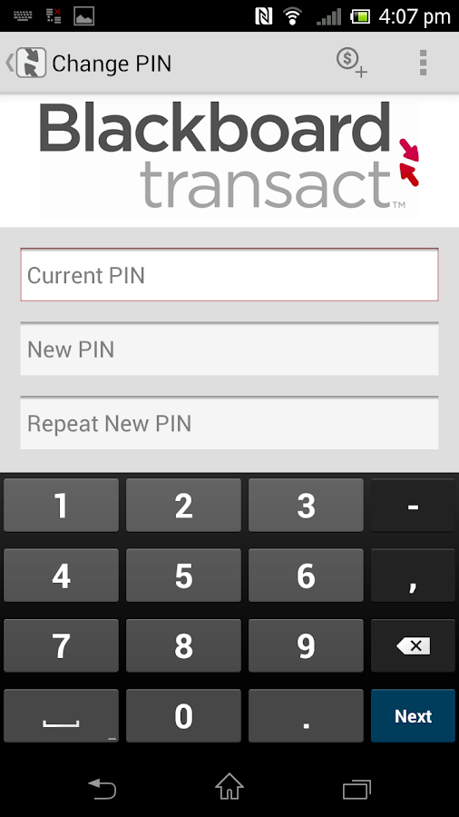 Blackboard Transact eAccounts- screenshot