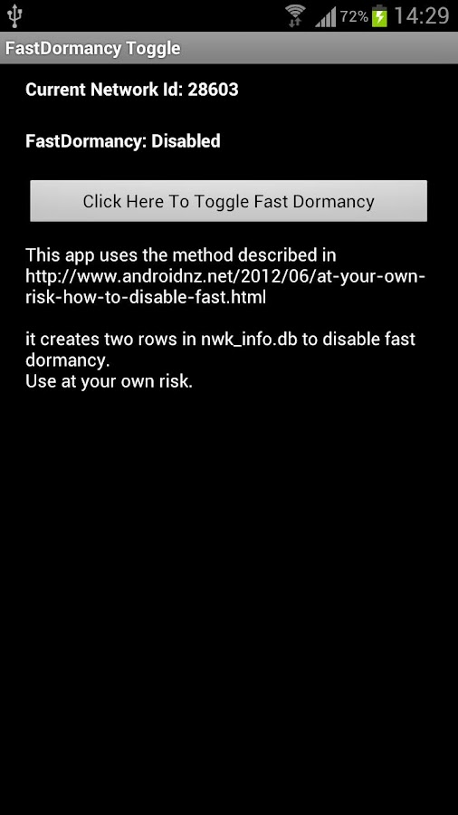 FastDormancy Toggle for i9300- screenshot