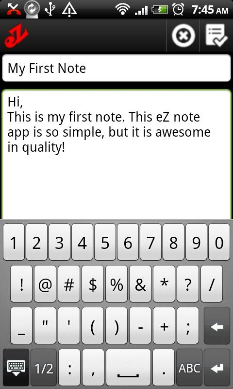 eZ Notes- screenshot