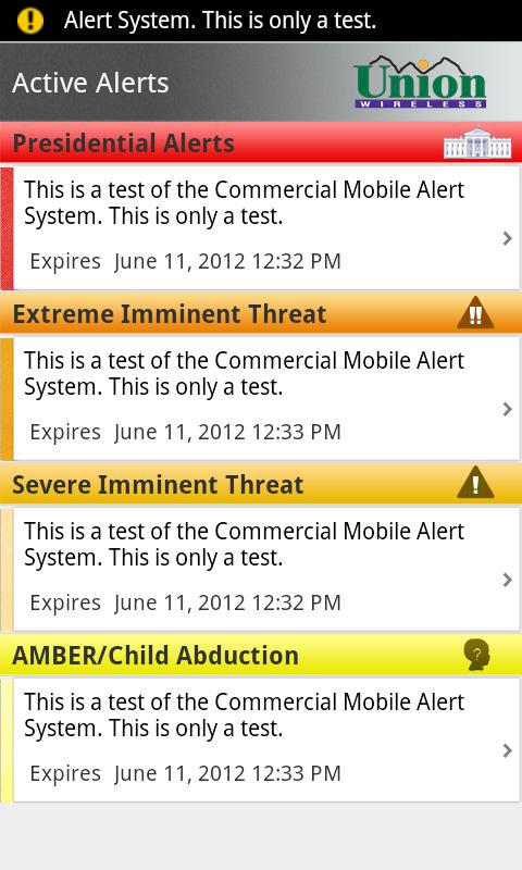 Union Wireless CMAS App- screenshot