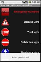 Screenshot of Road signs, emergency numbers