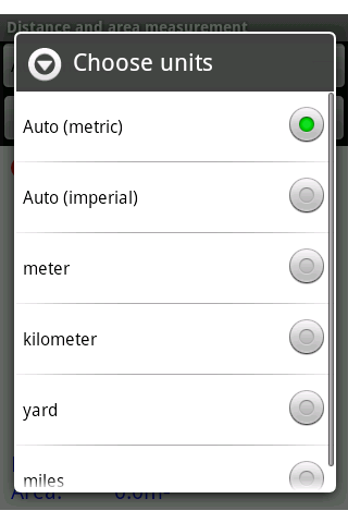 Distance and area measurement - screenshot