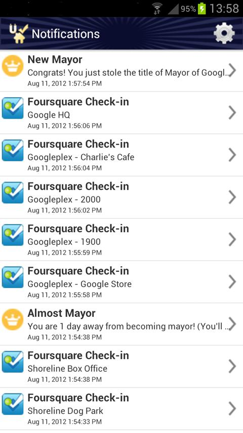 Uber Checkin 4sq auto checkin- screenshot