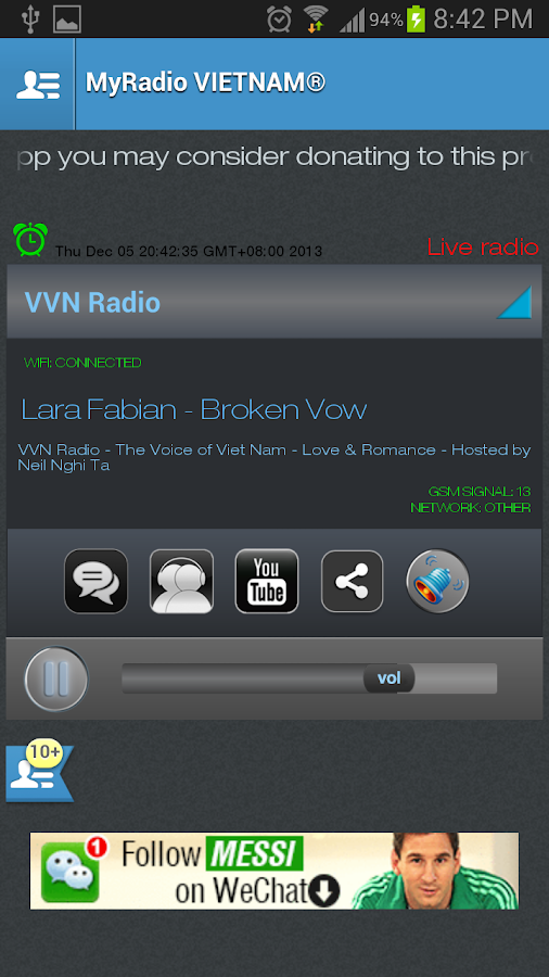 MyRadio VIETNAM - screenshot