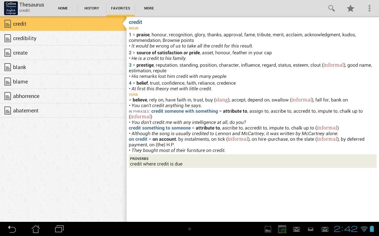 Collins Thesaurus English TR - screenshot