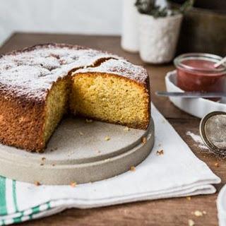Flourless Lemon Cake with Rhubarb Compote Recipe