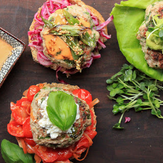 Juicy Turkey Burgers With Sautéed Tomatoes, Basil, and Ricotta