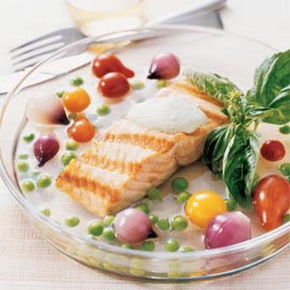 Grilled Salmon in Tomato Water.