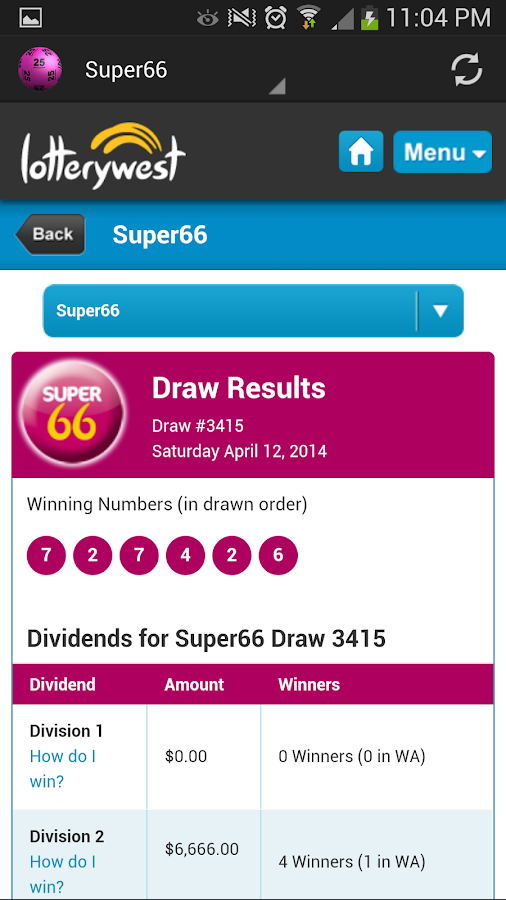 Australian Lotto Results - screenshot