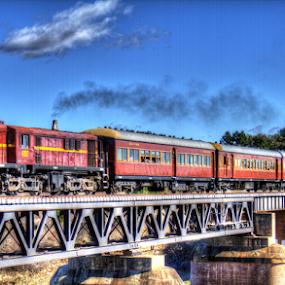 4807 cross the Burbong Bridge by Peter Keast - Transportation Trains ( diesel, transport, engine, rail, train, bridge, , land, device, transportation )