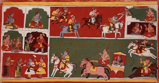 Scenes From Krishna's Life, Folio from a Bhagavata Purana (Ancient Stories of the Lord)