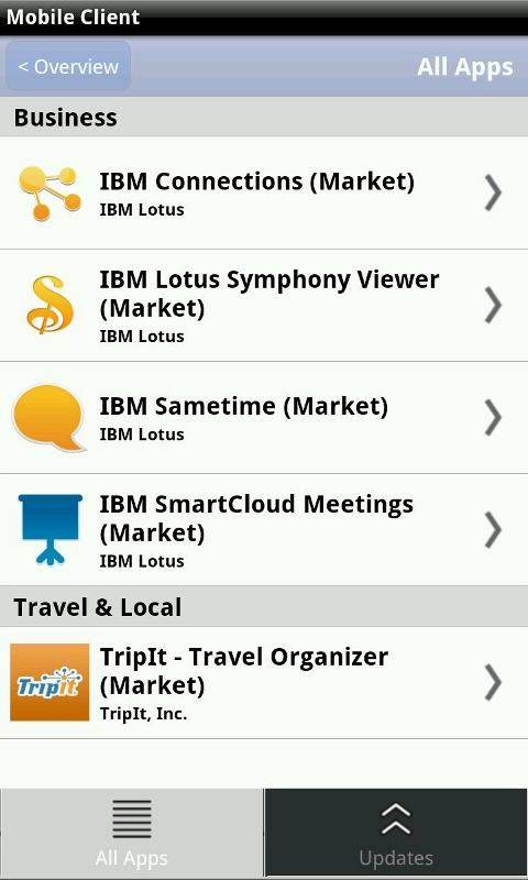 IBM Mobile Client- screenshot