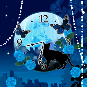 Moon and black cat clockWidget