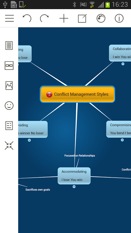 Mindomo (mind mapping): captura de pantalla