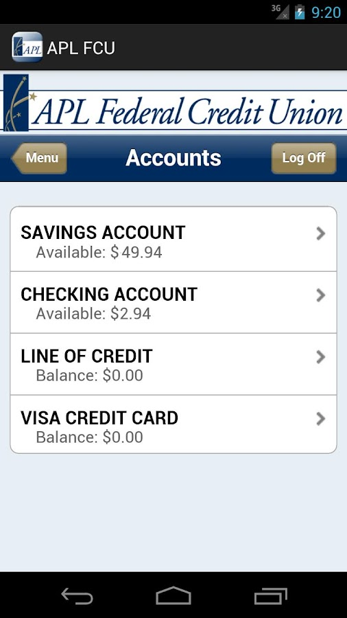 APL Federal Credit Union- screenshot