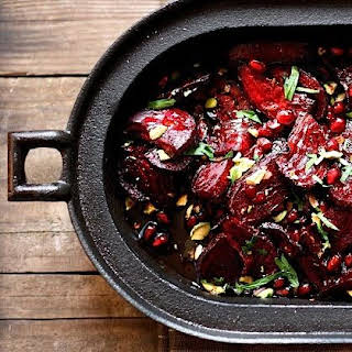 Moroccan Roasted Beets with Pomegranate and Pistacio.