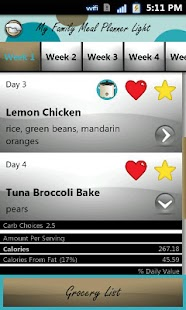My Family Meal Planner Light - screenshot thumbnail