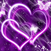 Hearts Purple Butterfly