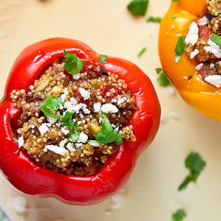 Gyro-Stuffed Bell Peppers with Quinoa & Feta